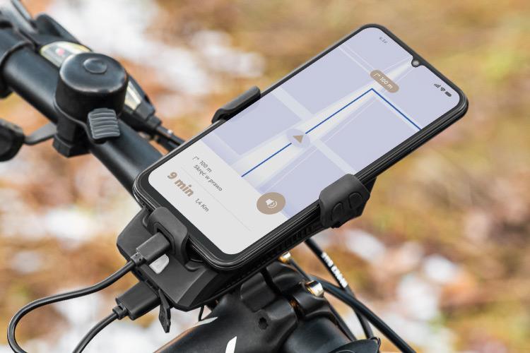 Uchwyt rowerowy z power bankiem