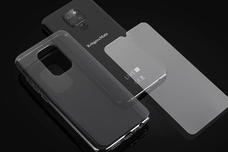 Smartfon z pokrowcem i szkłem hartowanym