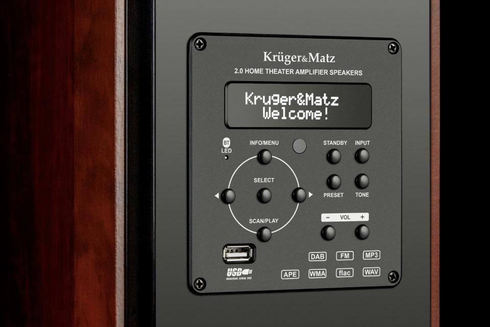 Aktywne kolumny głośnikowe Kruger&Matz z panelem sterowania
