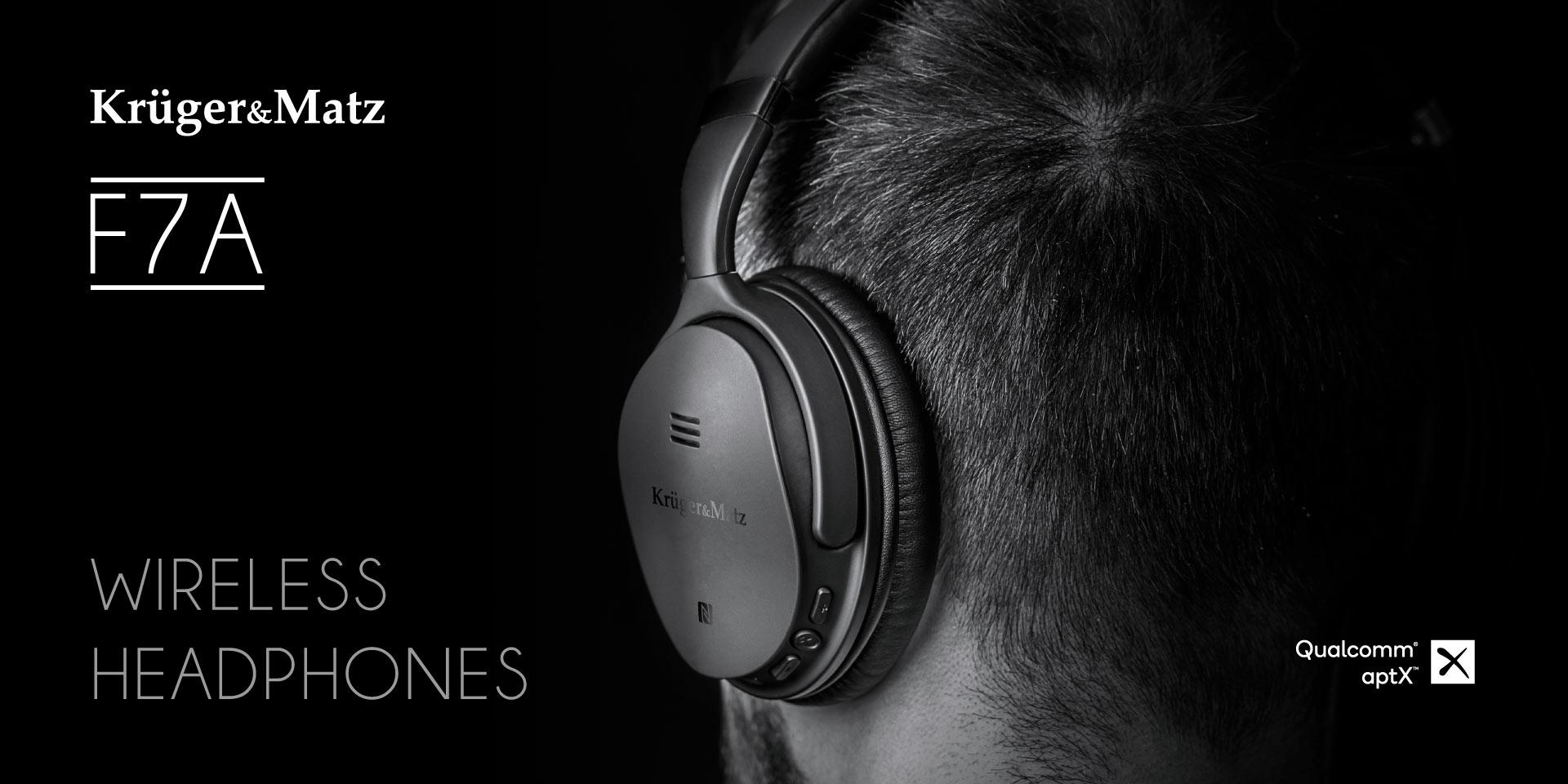 Bezprzewodowe słuchawki nauszne z ANC Kruger&Matz F7A