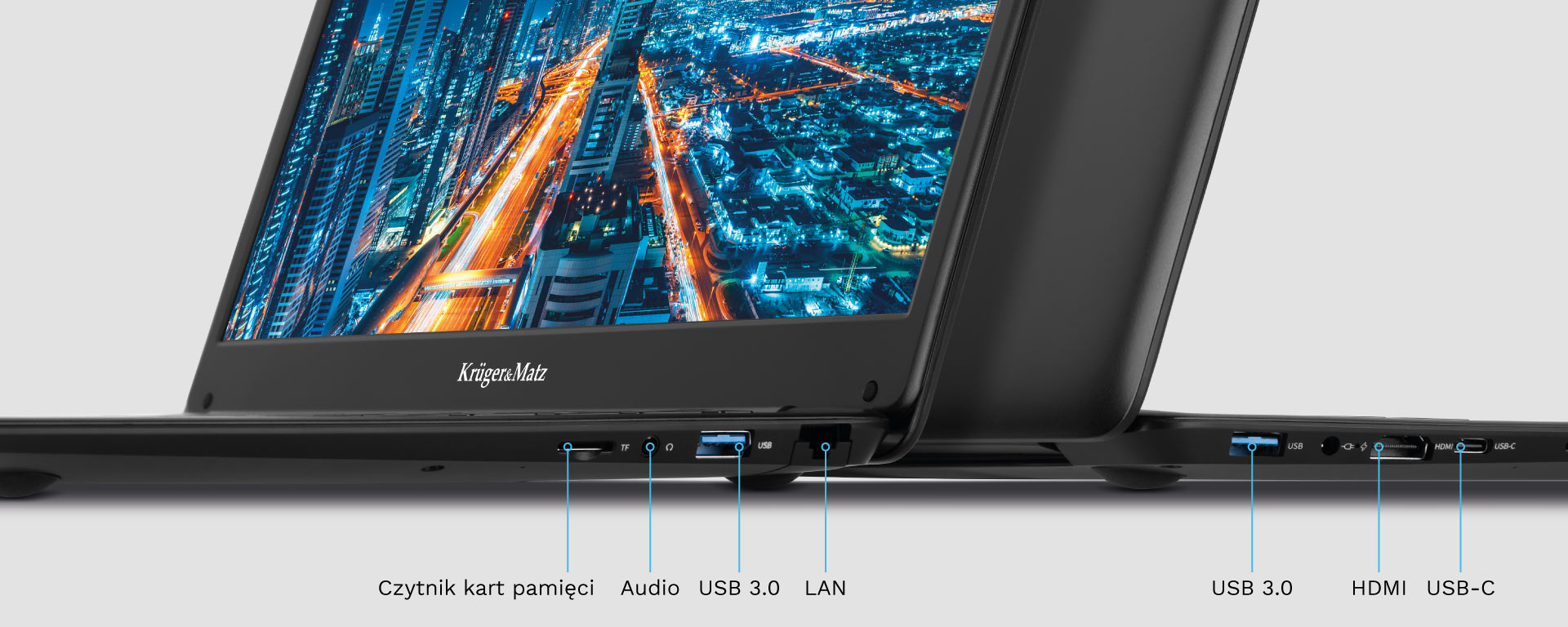 Laptop z HDMI, USB, RJ-45 i micro SD